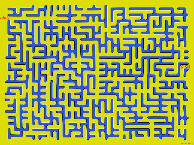 Labirent yollarının hareket ettiği bir labirent bulmaca çizimi