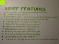 Spezifikation: GHB 8GB Digitales Diktiergerät Aufnahmegerät Audio Voice Recorder mit Stereoaufnahmen, MP3 Player und USB Spericher -Schwarz