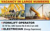 Electrician & Forklift Operator Jobs Recruitment in Dubai 2021