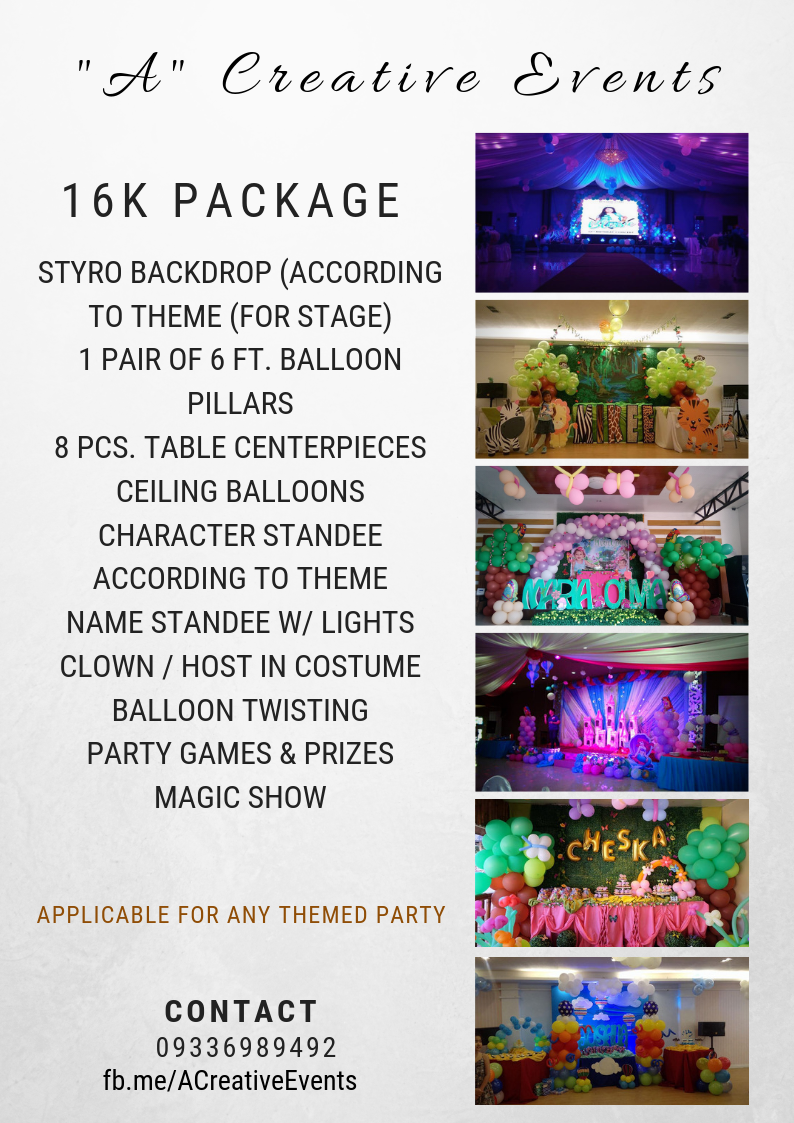 """A"" Creative Events Birthday Party Packages - Decors and Entertainment"