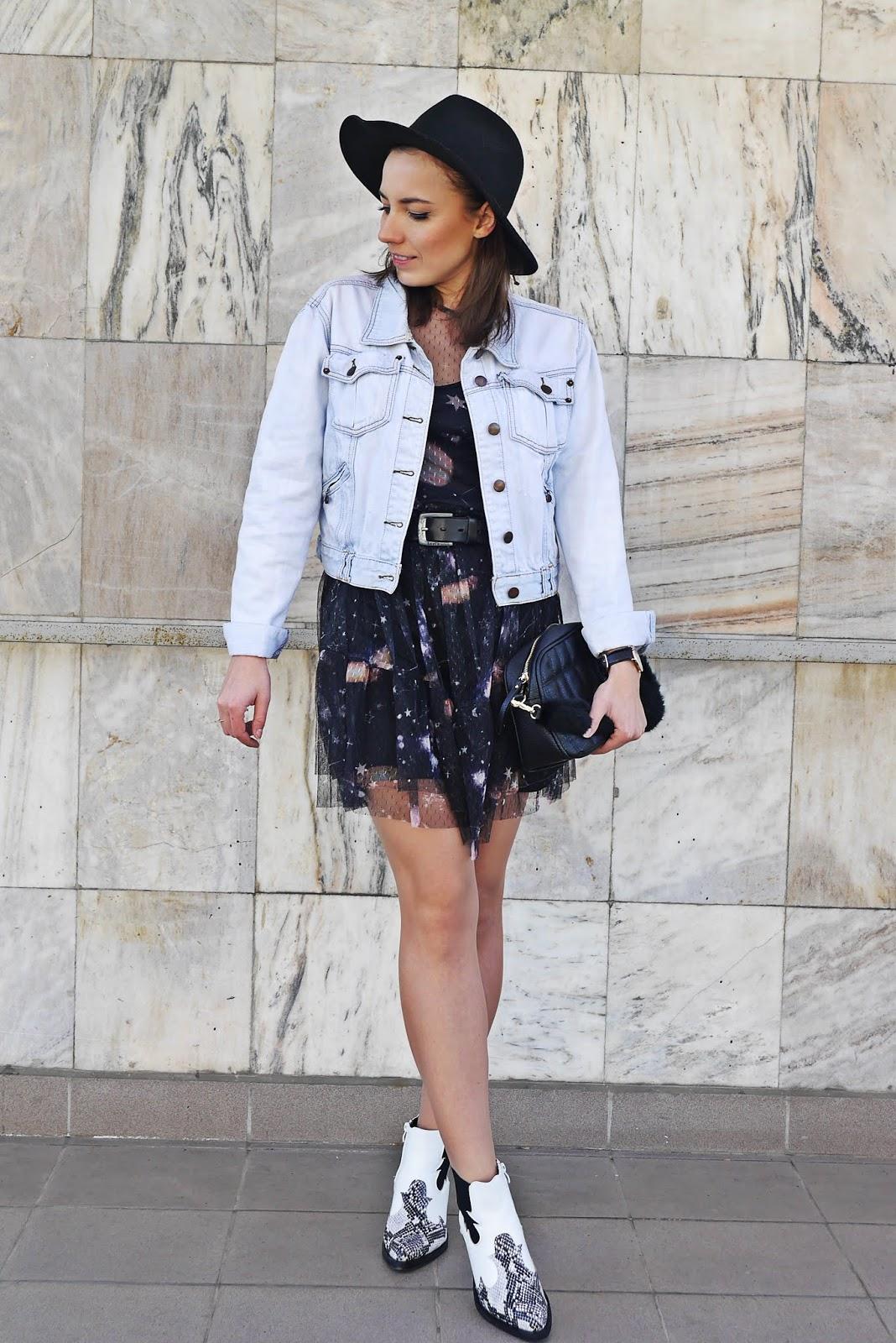 kowbojki biało wężowe renee botki białe sukienka cropp kurtka jeansowa kapelusz karyn blog modowy