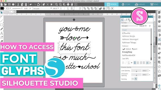 silhouette 101, silhouette america blog, script fonts, font glyphs, silhouette studio v4