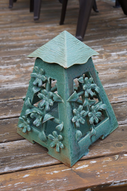 Beautiful green floral pottery stoneware garden lantern by Lily L.