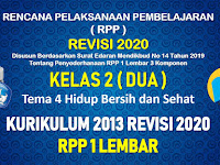 RPP 1 Lembar Kelas 2 Tema 4 SD/MI Kurikulum 2013 Revisi 2020 Tahun Pelajaran 2020 - 2021