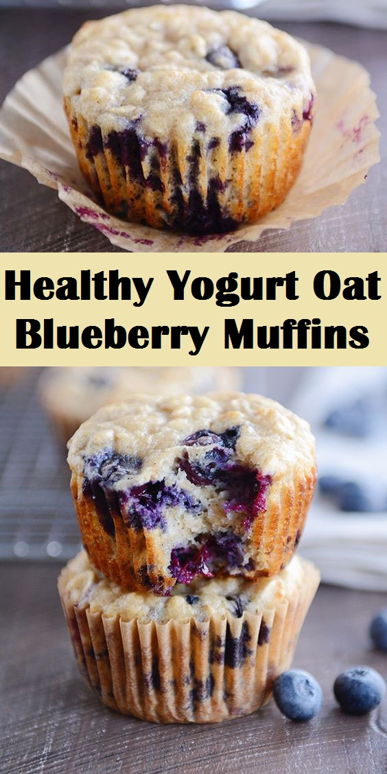 Healthy Yogurt Oat Blueberry Muffins