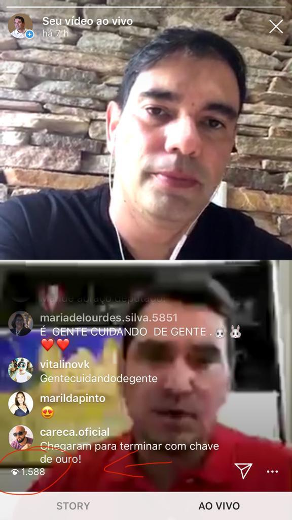 Prefeito Gustavo e Deputado George bombam em live no Instagram