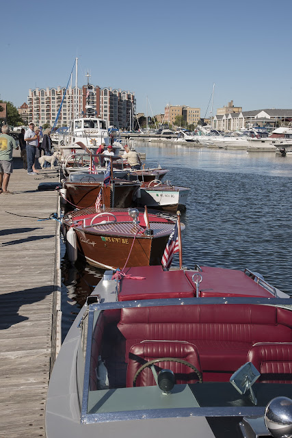 Restored antique boats from the Antique and Classic Boat Society Show