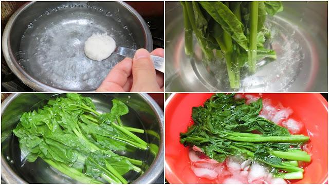鍋に湯を沸騰させ、塩を加えて再沸騰したらつるむらさきの茎部分のみ先に湯の中に入れます。 1分ゆでたら葉も入れて50秒ゆでたら氷水に浸して冷やし、色止めをします。