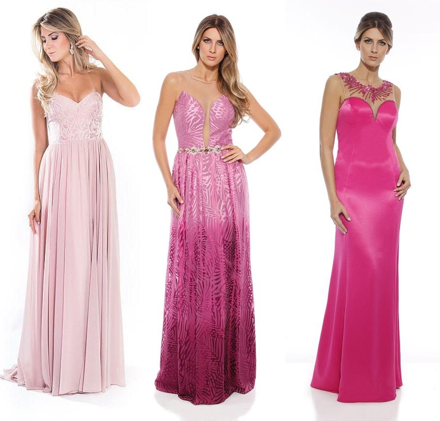 Vestido longo cor de rosa