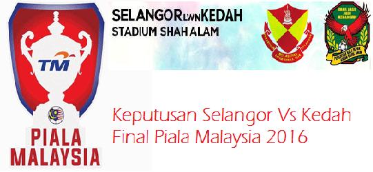 Keputusan terkini Final Piala Malaysia 2016