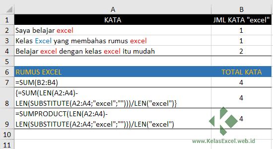 Cara menghitung jumlah teks tertentu pada sebuah range excel