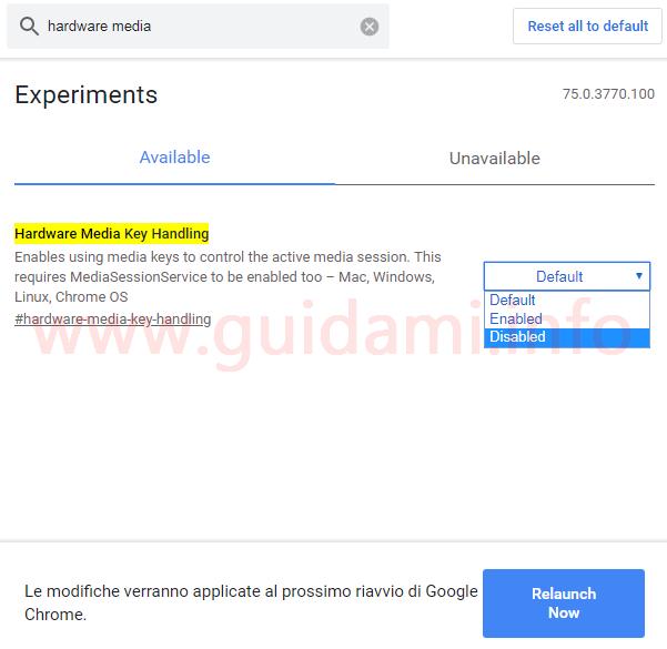 Pagina esperimenti Google Chrome chrome://flags disattivazione funzione Hardware Media Key Handling