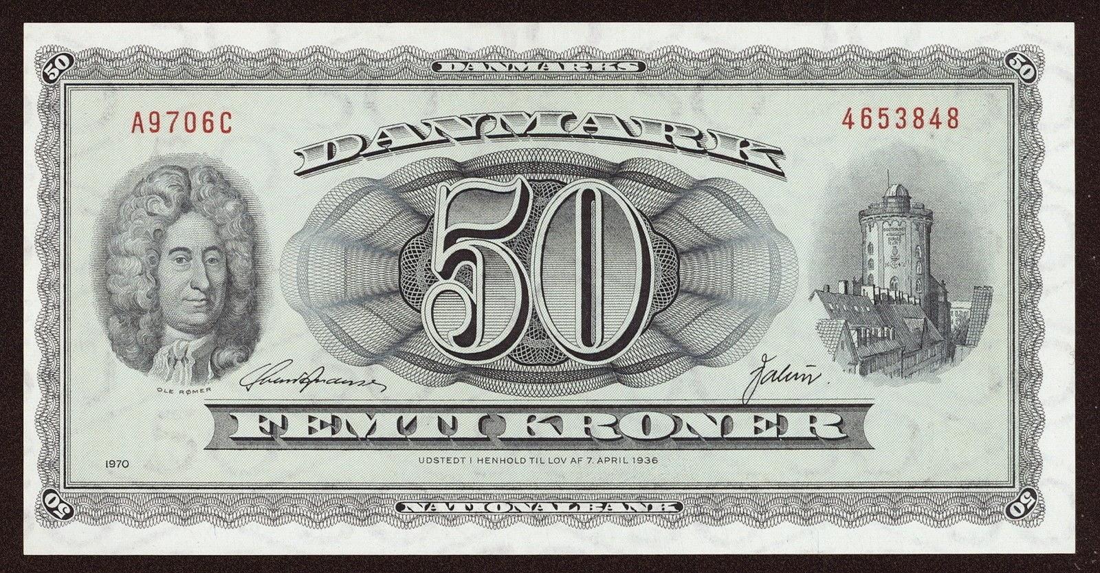 Banknotes of Denmark 50 krone banknote 1970 Ole Christensen Rømer