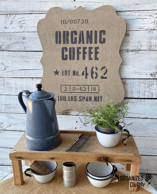 Photo of organic coffee burlap sign