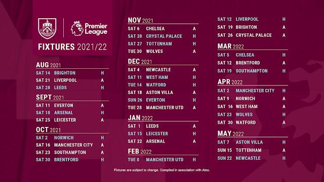 جدول مباريات بيرنلى فى الدوري الانجليزي للموسم الجديد 2021/2022