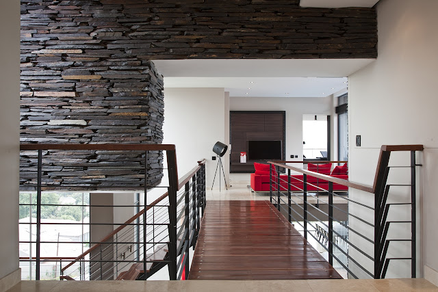 Picture of wooden bridge above the living room