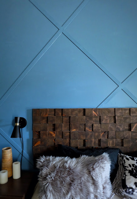 flat stock wall trim x pattern painted blue woodblock headboard