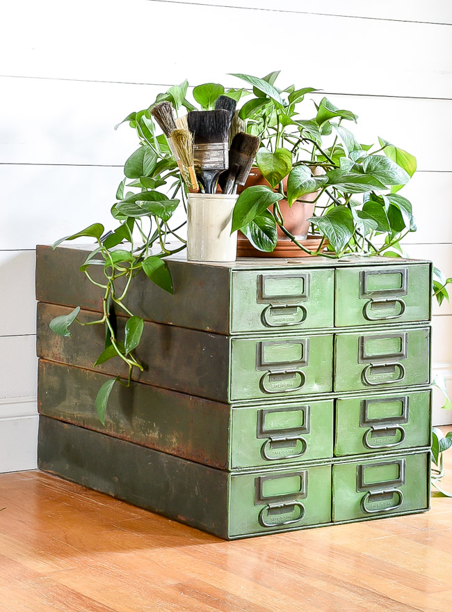 Aged painted industrial hardware drawers