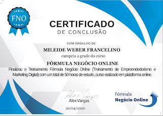 Certificado de Conclusão do FNO Fórmula Negócio Online do Alex Vargas