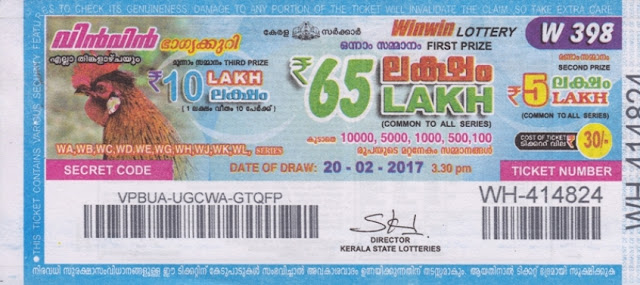 Kerala lottery result official copy of Win Win-W-208
