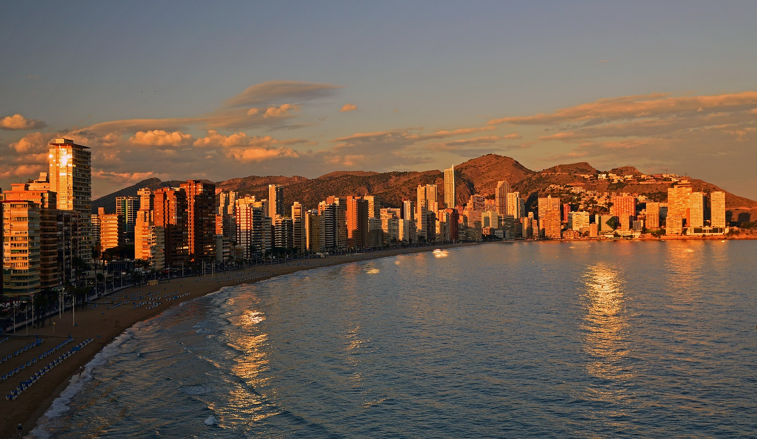 Benidorm at sunset