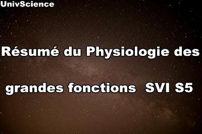 Résumé du cour Physiologie des Grandes fonctions SVI S5