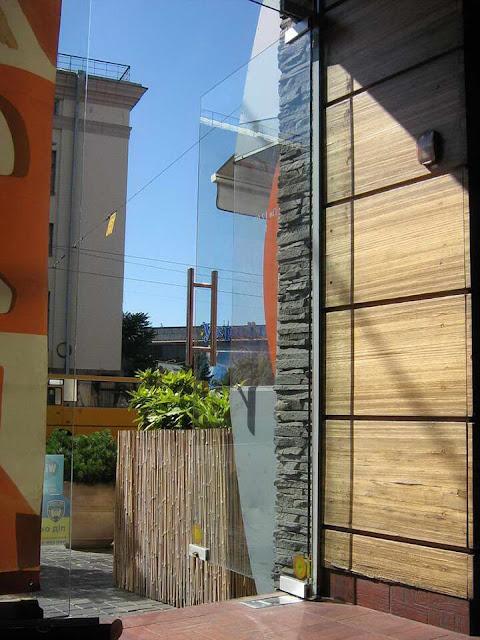 A stylish glass door