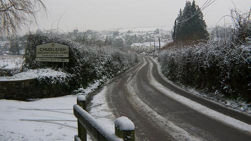 Snowy roads in Chudleigh, Devon, UK