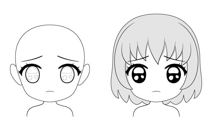 Ekspresi wajah puppy eyes chibi anime