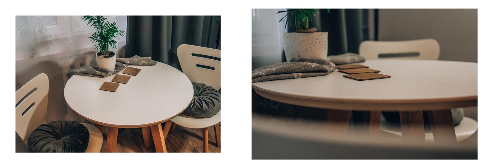 0 drewniany biały stół do jadalni, salonu i kuchni. Drewniane krzesła w stylu skandynawskim. Białe krzesła loftowe drewniane bez podłokietników z wysokim oparciem. Soldny stół dla 4 osób, solidne krzesła.