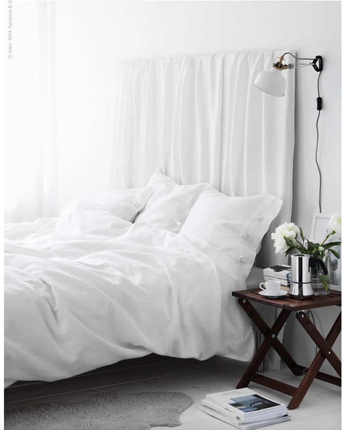 Fancy Give your bedroom a fresh look by threading a duvet cover directly over an existing headboard or a large frame created with three pieces of wood