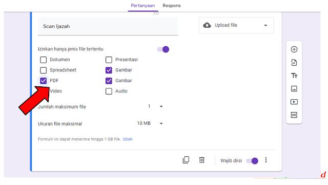 cara menambahkan menu upload file google form