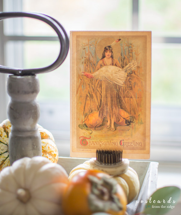tiered tray with vintage Thanksgiving postcard