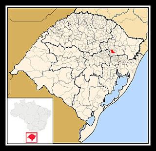 Cidade de Bento Gonçalves, no mapa do Rio Grande do Sul
