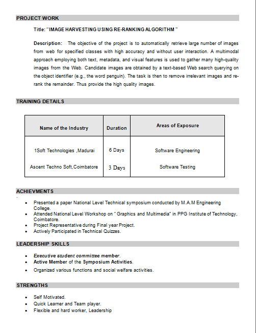 best resumes for freshers pdf computer science engineers and