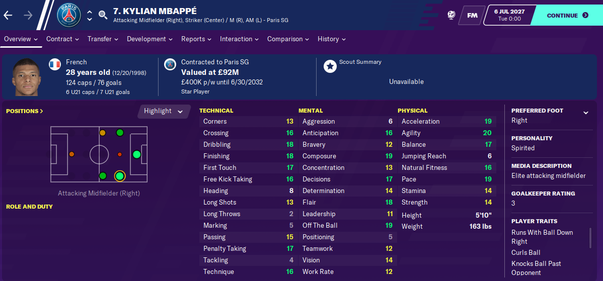 Kylian Mbappe: Attributes in 2027 season