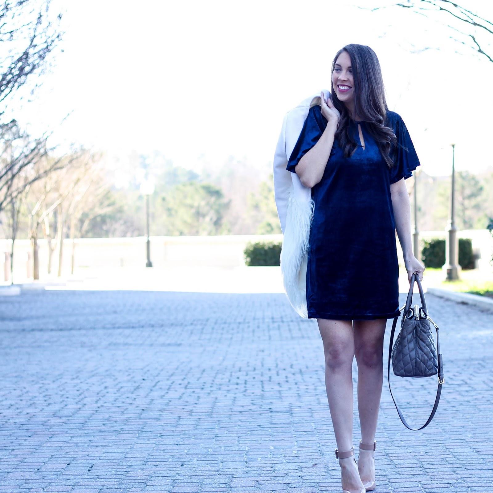 Velvet Navy Shift Dress, Velvet Dress, Blue velvet, White Faux Fur Coat, Chicwish White Faux Fur Coat, Fashion Blogger, Winter Style, Winter Trends, Pretty in the Pines, Cute Winter Outfit Idea, Nude Ankle Strap Pumps