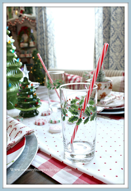Cottage- Farmhouse- Christmas -Breakfast -Nook-Vintage-Drinkware-Holly-Glasses-Vinatge-Style-From My Front Porch To Yours