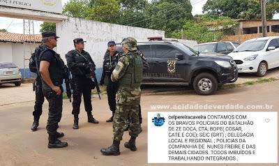 Comandante da PM e policiais de todo estado prometem caça implacável aos bandidos que atacaram a agência do Banco do Brasil no interior do Maranhão
