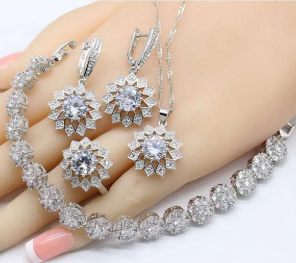 Women Jewelry 925 Silver Sets Necklace Earrings Rings Bracelets White Zirconia