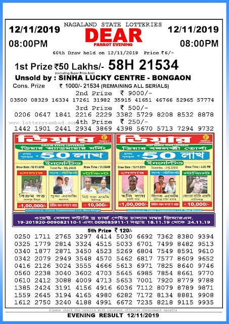 Lottery sambad 12-11-2019 Nagaland State Lottery Result 08.00 PM-sambadlottery.org