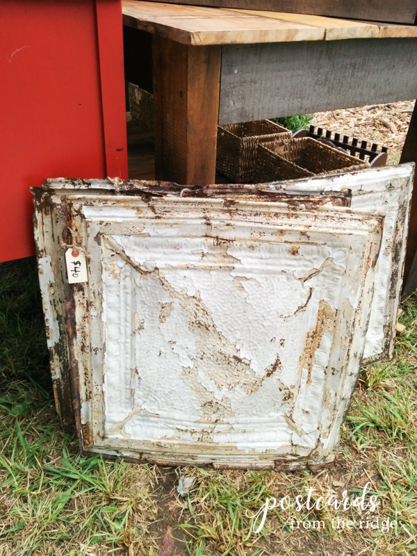 salvaged antique tin ceiling tiles