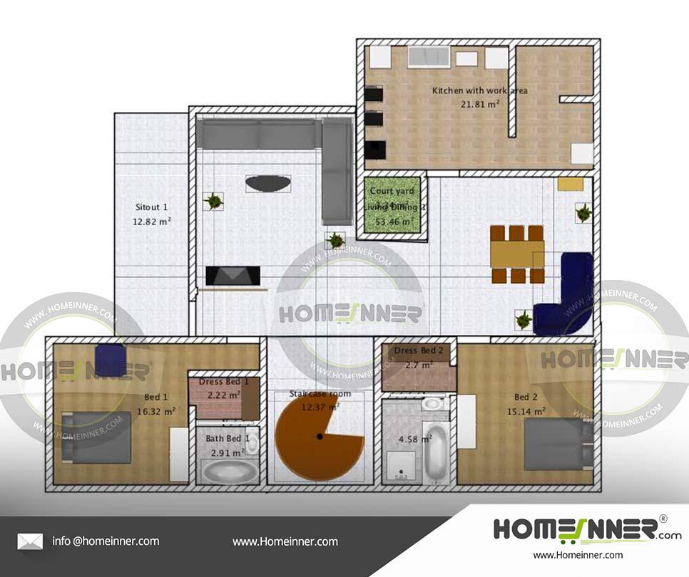 Free House plan 1800 sq ft 2 Bedroom Floor plan