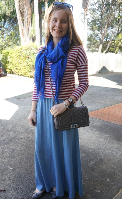 red striped tee chambray maxi skirt cobalt scarf Rebecca Minkoff Love cross body bag spring outfit | AwayFromBlue