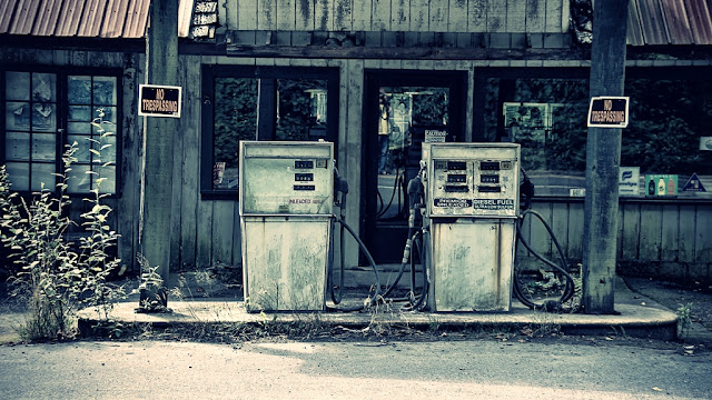 Old gas pumps long stopped running...