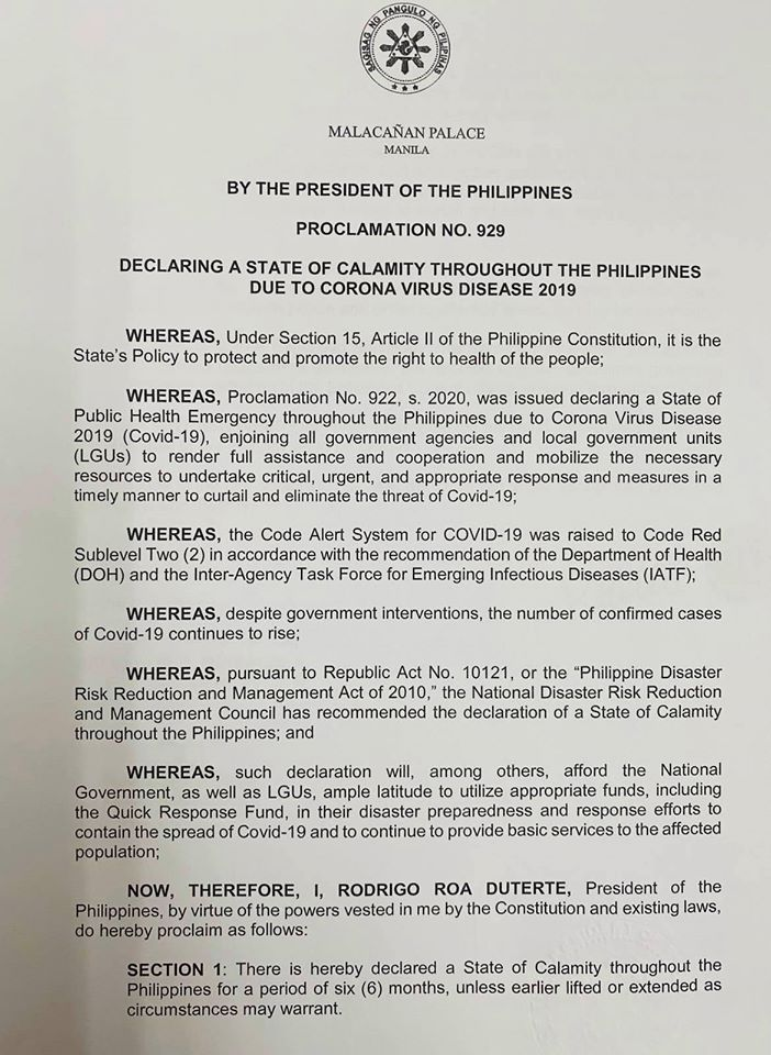 President Rodrigo Duterte declares a state of calamity throughout the Philippines due to COVID-19 outbreak