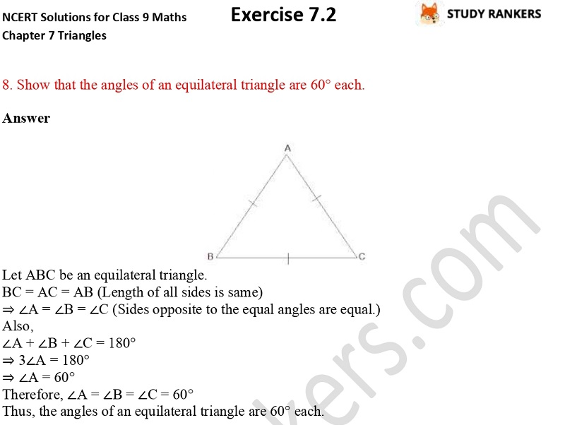 NCERT Solutions for Class 9 Maths Chapter 7 Triangles 7.2 Part 7
