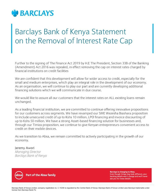Barclays Bank of kenya responds to rate cap removal