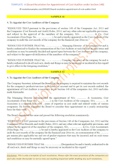 draft board resolution for appointment of cost auditor under companies act 2013