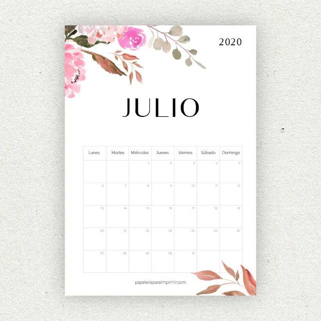 Calendario 2020 de Julio para imprimir